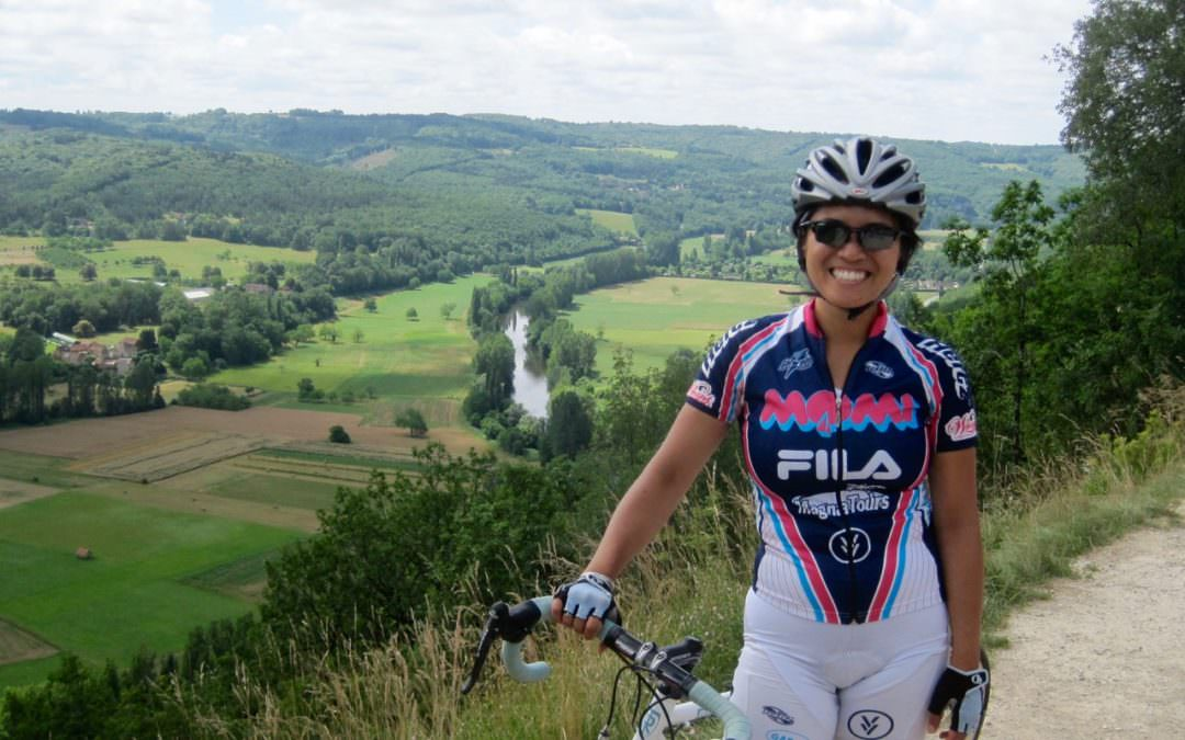 Cycling the Dordogne with Joy Cadelina Gilpin with the Vezere in the background