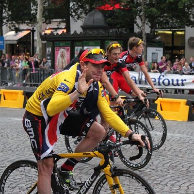 Cadel on the Champs Elysees during our Tour de France Tour 2011