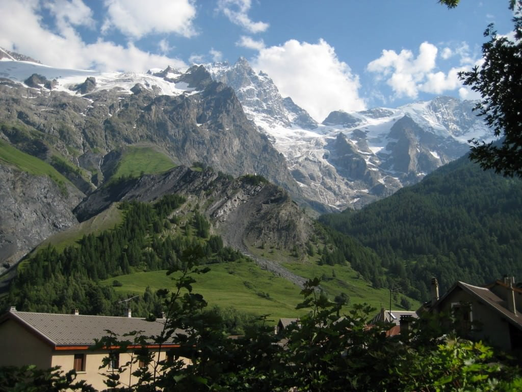View of la Meije from the terrace at our hotel in La Grave