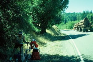 Dick Repairing a Tubular Tire in the 1970s on a Northern California Road.