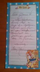 Hand written note from Betty Hartman