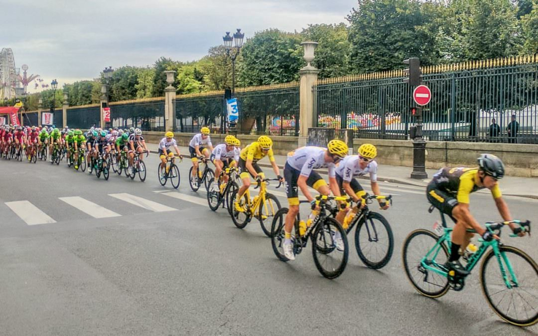 Tour de France in Paris with the Louvre in the background during Tour de France spectator tours