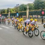 Tour de France in Paris with the Louvre in the background during Tour de France spectator tours