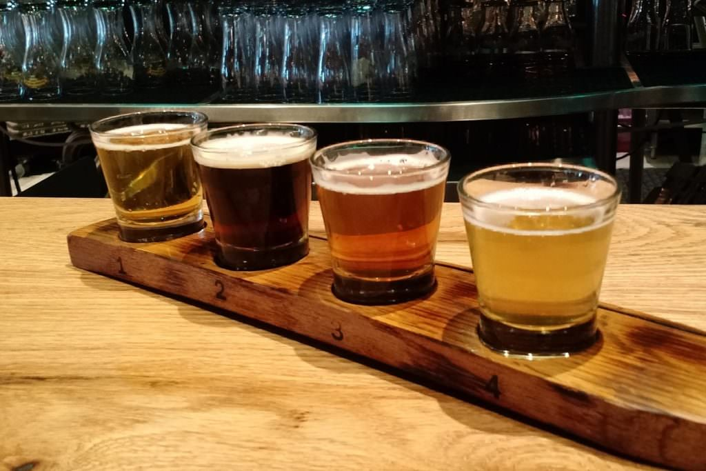 craft beer in a flight