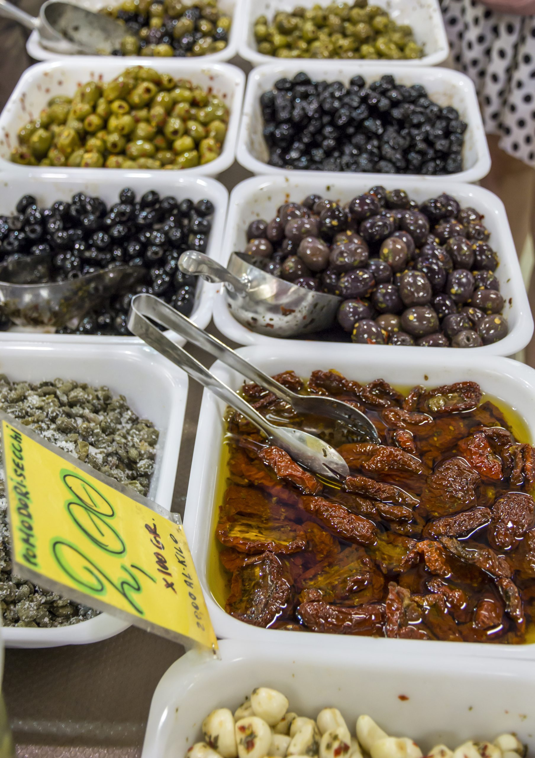 Olives and Dried tomatoes at the market
