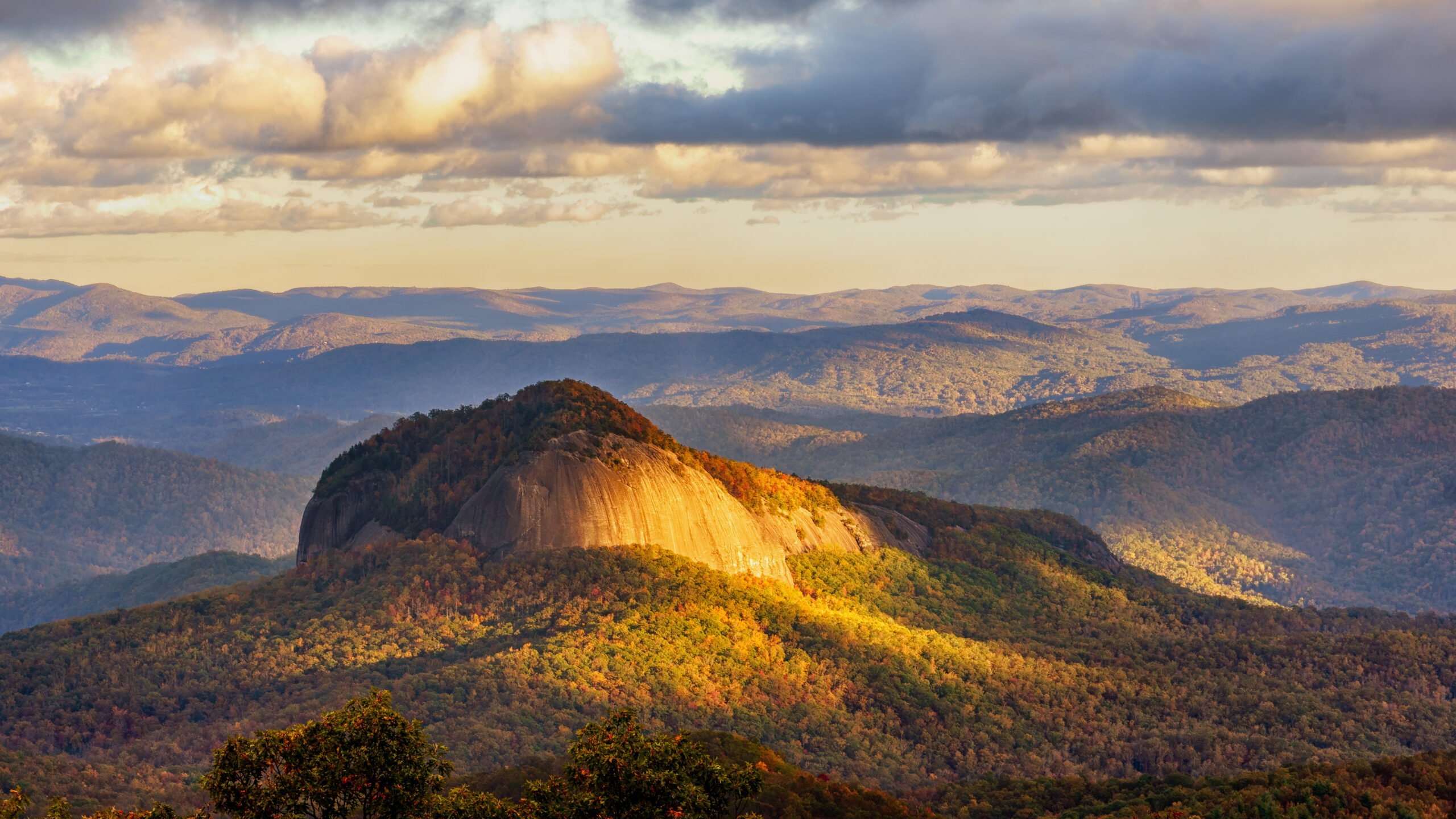 Looking Glass Rock from the Blue Ridge Parkway in Autumn - Asheville Bike Tours